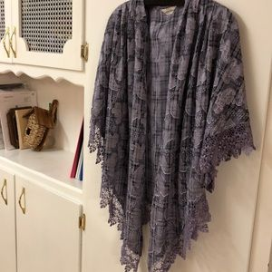 Beautiful lavender, scarves, poncho.